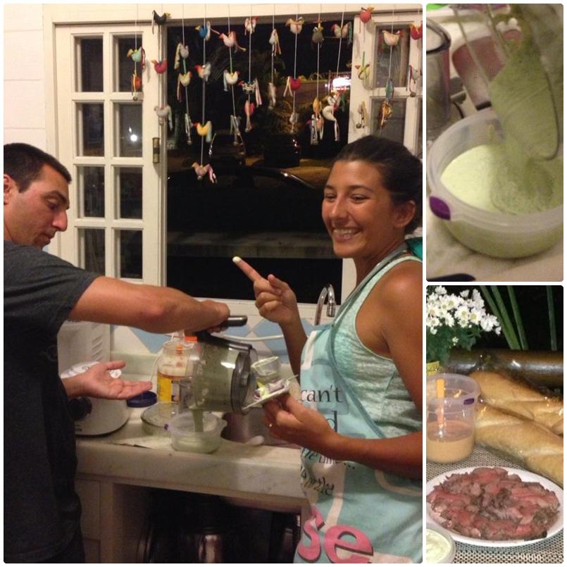 A gente bagunçando na cozinha. O Thi achando que estava na Ana Maria Braga!!rsrsrs