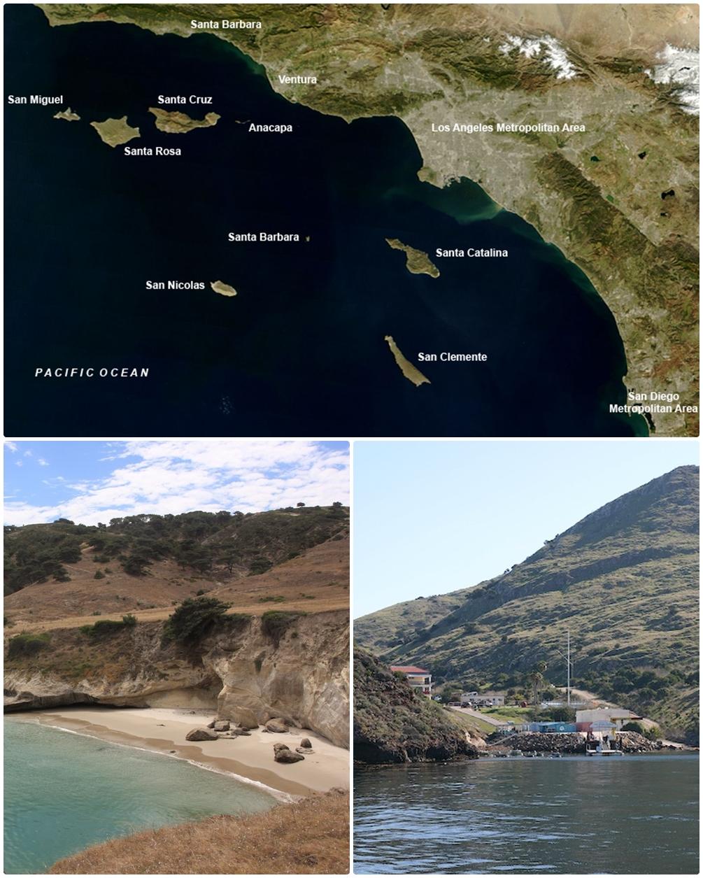 O mapa mostra s oito ilhas pertencentes ao arquipelogo. Abaixo, algumas das praias.
